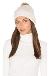 Hat Attack Rabbit Fur Pom Cashmere Beanie White