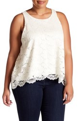 14Th And Union Lace Swing Tank Plus Size White