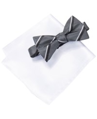 Alfani Grey Bow Tie And Pocket Square Set Only At Macy's Hudson Charcoal