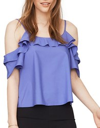 Miss Selfridge Ruffled Cold Shoulder Top Blue