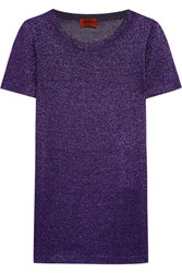 Missoni Metallic Crochet Knit Top Purple