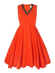 Sportmax Code Lauto Sleeveless V Neck Dress With Lace Trim Coral