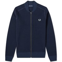 Fred Perry Waffle Zip Cardigan Blue