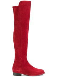 Stuart Weitzman Suede Knee High Boots Leather Suede Polyester Rubber Red