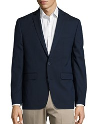 Solid Long Sleeve Blazer Navy