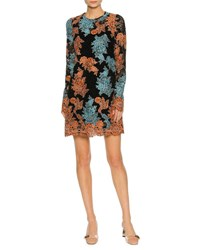 Dolce And Gabbana Long Sleeve Lace Embroidered Dress Orange Blue Orange Blue