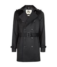 Burberry The Kensington Rex Collar Mid Length Trench Coat Navy