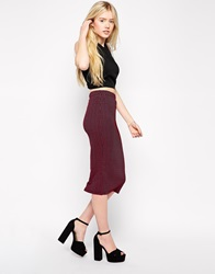 Girls On Film Textured Pencil Skirt Pink