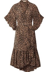 Michael Kors Collection Wrap Effect Leopard Print Silk Crepe De Chine Dress Leopard Print