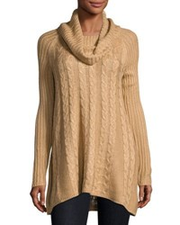 Neiman Marcus Long Sleeve Cable Knit Swing Sweater Light Brown