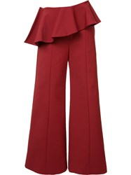 Rosie Assoulin Pleated Trim Palazzo Pants Red