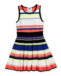 Milly Minis Sleeveless Striped Fit And Flare Dress Multicolor Size 8 14 Girl's Size 14 Multi Colors