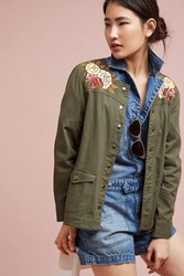 Anthropologie Souza Embroidered Jacket Green