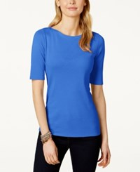 Charter Club Petite Elbow Sleeve Boat Neck Pima Cotton Tee Only At Macy's Blazing Blue
