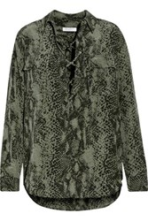 Equipment Knox Lace Up Printed Washed Silk Shirt Army Green