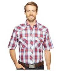 Roper 1028 Royal Red And White Plaid Red Men's Clothing