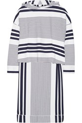 Rosetta Getty Hooded Striped Stretch Jersey Poncho White
