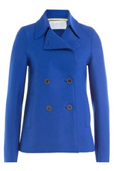 Harris Wharf London Virgin Wool Pea Coat Blue