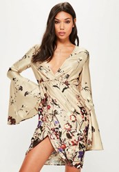 Missguided Tall Exclusive Nude Satin Printed Plunge Dress