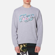 Kenzo Men's Embroidered Logo Sweater Pearl Grey