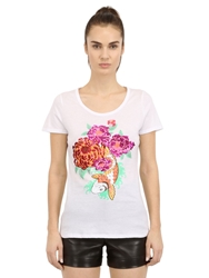 Beayukmui Sequined And Printed Cotton T Shirt White