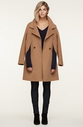 Soia And Kyo Double Face Wool Blend Cape Coat Almond