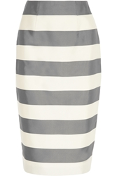 Burberry Striped Silk And Cotton Blend Faille Midi Skirt