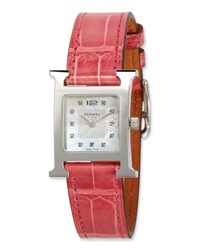 Herm S Heure H Pm Watch With Diamonds And Raspberry Alligator Strap