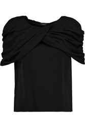 Giambattista Valli Draped Wool Top Black