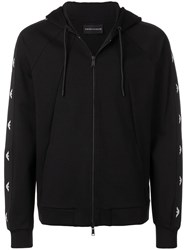 Emporio Armani Logo Piped Detail Hoodie Black