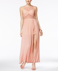 Material Girl Juniors' Slit Illusion Maxi Dress Only At Macy's Tropical Peach