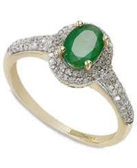 Macy's 14K Gold Emerald 9 10 Ct. T.W. And Diamond 1 3 Ct. T.W. Oval Ring