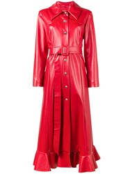 A.W.A.K.E. Ruffled Faux Leather Coat Red