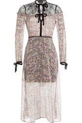 The Kooples Printed Silk Dress With Lace And Velvet Florals