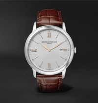 Baume And Mercier Classima Quartz 42Mm Stainless Steel Croc Effect Leather Watch White