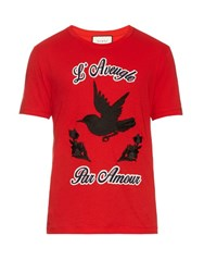 Gucci Hummingbird Applique Cotton Jersey T Shirt Red Multi