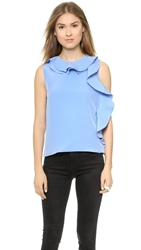 Cynthia Rowley Side Ruffle Top Light Blue