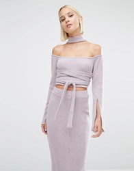 Lavish Alice Rib Knit High Neck Wrap Around Belt Crop Top Mauve Pink