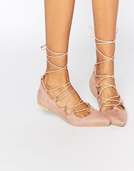 Glamorous Dusty Suede Pink Ghillie Tie Up Flat Shoes Pink