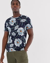 Ted Baker T Shirt With Navy Floral Print