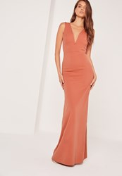 Missguided V Plunge Maxi Dress Orange Clay