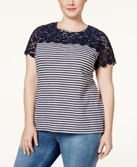 Charter Club Plus Size Crochet Trim Striped Top Only At Macy's Intrepid Blue Combo