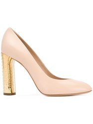 Casadei Contrasting High Heel Pumps Nude Neutrals