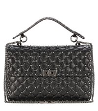 Valentino Garavani Rockstud Spike Chain Leather Shoulder Bag Black