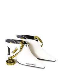 Off White For Walking Leather Mule Pump White