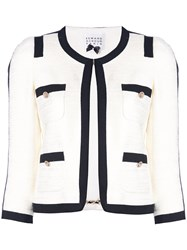 Edward Achour Paris Contrasting Trim Tweed Jacket White