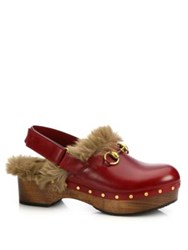 Gucci Amstel Fur Lined Leather Slingback Clogs Red