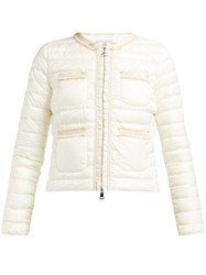 Moncler Wellington Braided Quilted Down Jacket White