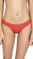 Pilyq Basic Ruched Full Bikini Bottoms Red Coral