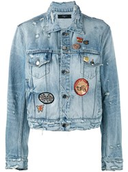 Amiri Badge Patch Frayed Denim Jacket Women Cotton S Blue